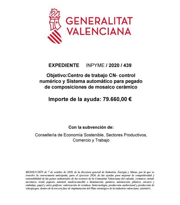 SUBVENCION SECTOR CERÁMICO 2020